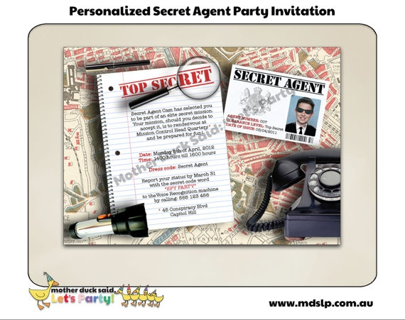 Secret Agent / Spy Birthday Party Invitation: Birthday Party Invitations, Mothers Ducks, Agent Party'S, Spy Parties, Parties Ideas, Spy Birthday Parties, Birthday Parties Invitations, Secret Agent Parties, Birthday Ideas