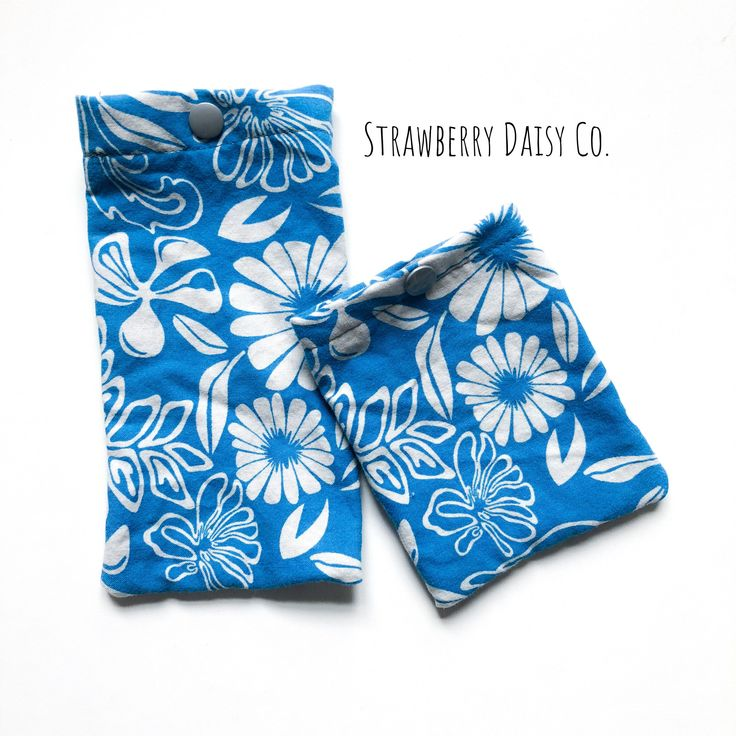 Sunglasses and earbud pouch set up cycled fabric Floral print by strawberrydaisyco on Etsy