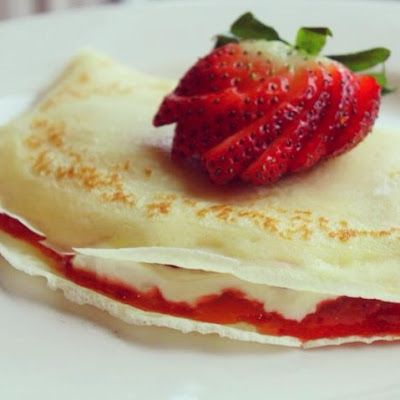 Valentine's Day Strawberry Cheesecake Crepes