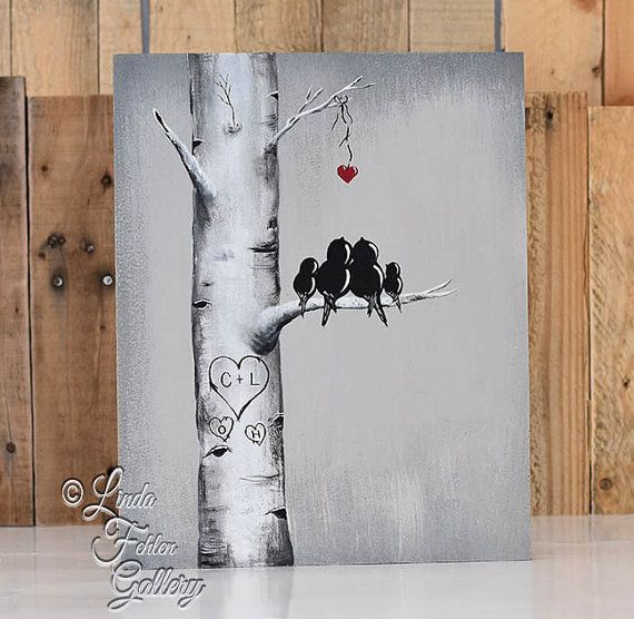 Rustic Wood Signs Love Gift Wood Sign Love Bird Painting Aspen Tree Painting 5th Anniversary Gift for Him Custom Wedding Gift for Couple