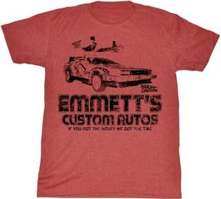 Back to the Future Emmett's Custom Autos Adult Heather Red T-Shirt $18.95