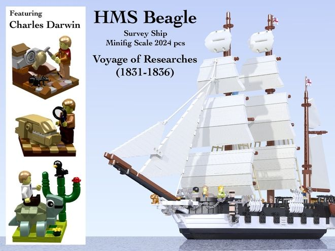 "A LEGO Ideas project, HMS Beagle, complete with Darwin, Fitzroy, and a number of cool accoutrements. Support it! It's easy and free to support this project: just go to the project's page and click ""support"" in the upper-right-hand column. You have to register, but it takes just a minute and there's no obligations or anything."