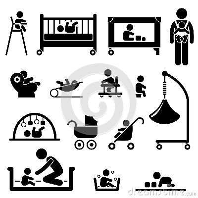 Baby Child Newborn Toddler Kid Equipment Pictogram by Leremy, via Dreamstime