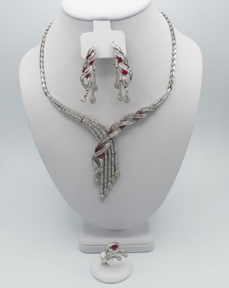 This stunning silver zirconia set is a 4 piece red zirconia stone necklace, earrings, ring & bracelet set (ring size 8) Red Jewelry, Stone Jewelry, Lush, Stone Necklace, Pendant Necklace, Ring Bracelet, Amp, Earrings, Silver
