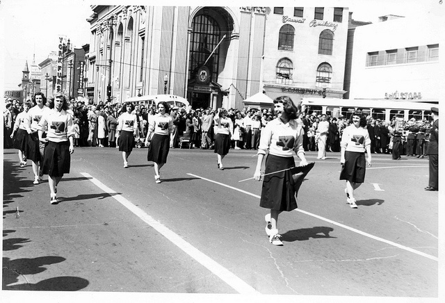 School spirit on the march! :) #vintage #school #cheerleader #uniform #teenagers…
