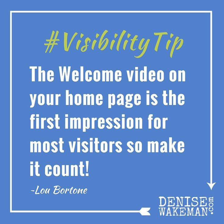 #VisibilityTip  Upgrade Your Websites Home Page Video Your welcome video on your home page is really your first impression for most web visitors so make it count! Keep it short on brand and viewer-centric. Even though its your introduction you still have to think in terms of whats in it for them? Most important be sure to include a clear call to action and tell your viewer exactly what you want them to do  #LinkInBio for 10 Video Marketing Tips in guest post by via @loubortone  #newblogpost…