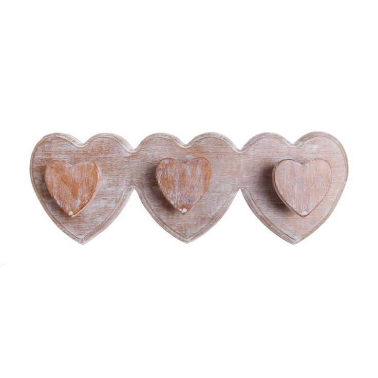 Wooden triple heart hook. Buy now here http://www.smallthings.gr/shop/bath-room/wooden-triple-heart-hook/#.VL-6si53AxI
