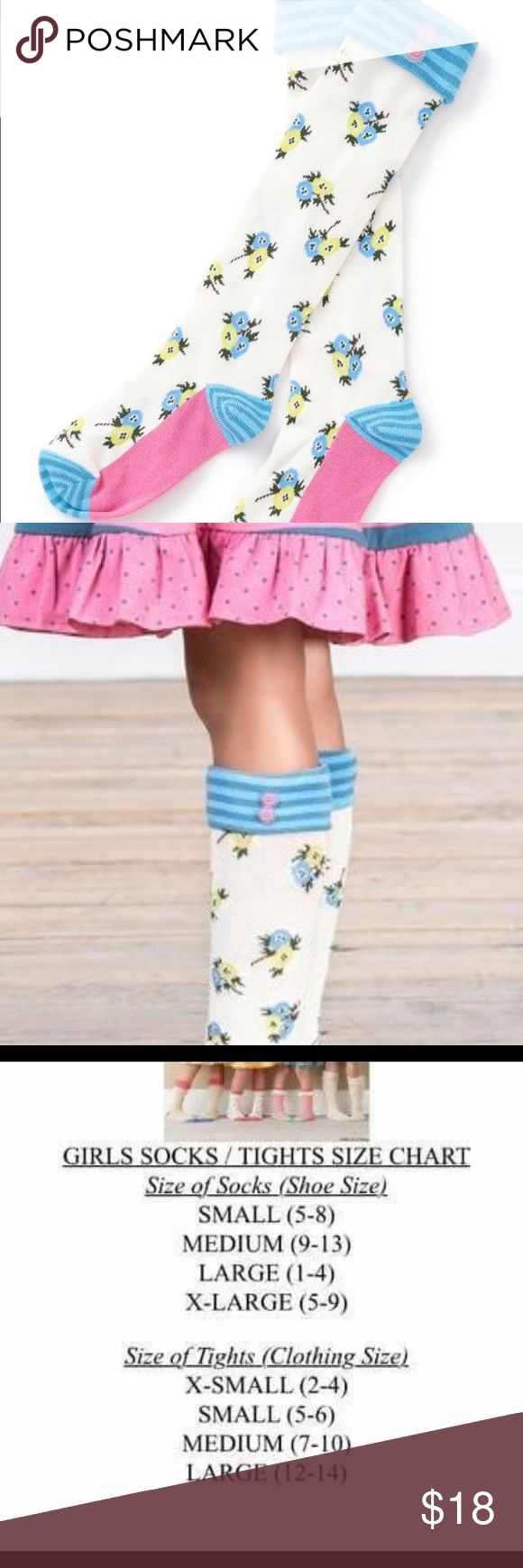 Matilda Jane Make Believe on the go socks Matilda Jane Make Believe on the go socks. Cute blue and white with floral print. Cute blue top with pink buttons. NWT Matilda Jane Accessories Socks & Tights