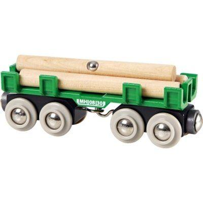 Brio Langholzwagen 33696. Mit seinen acht Rädern liegt der Langholzwagen bei seiner Fahrt aus dem Wald sicher in der Spur, und nichts kann darauf verrutschen.  http://www.briobahn.ch/brio-eisenbahn-langholzwagen-33696.html