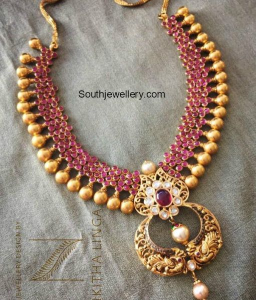 Ruby Necklace with peacock pendant photo