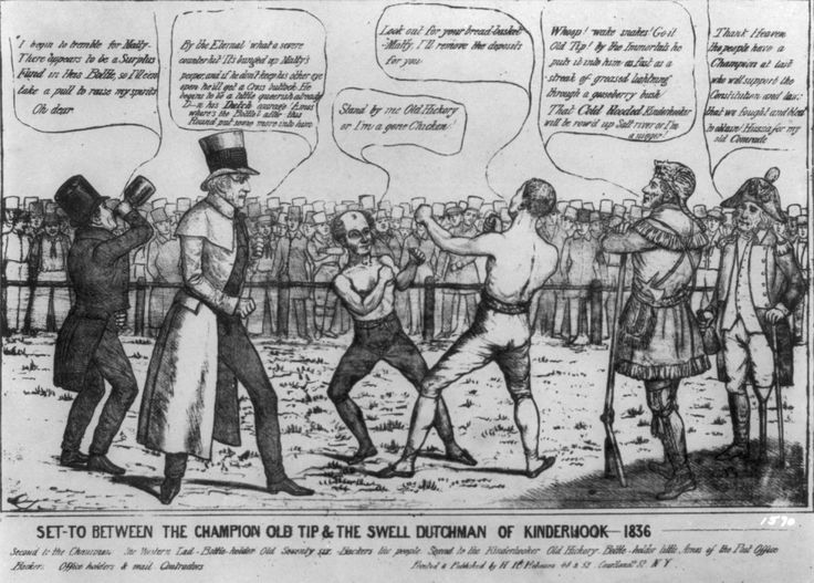 """Satire on the presidential campaign of 1836, portraying the contest as a boxing match between Democratic candidate Martin Van Buren and Whig candidate William Henry Harrison. The artist clearly favors Harrison. The work is a variation on an 1834 cartoon which uses the boxing match as a metaphor for the struggle between Andrew Jackson and Nicholas Biddle, president of the Bank of the United States. (See """"Set To Between Old Hickory and Bully Nick,"""" no. 1834-4). In a ring Van Buren and Harrison…"""