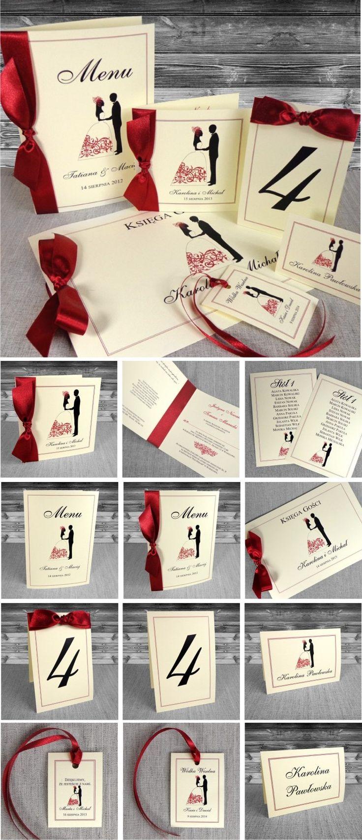 zaproszenia ślubne - Zaproszenia na ślub z Parą Młodą. Czerwone. Oryginalne, piękne. Ze wstążką.