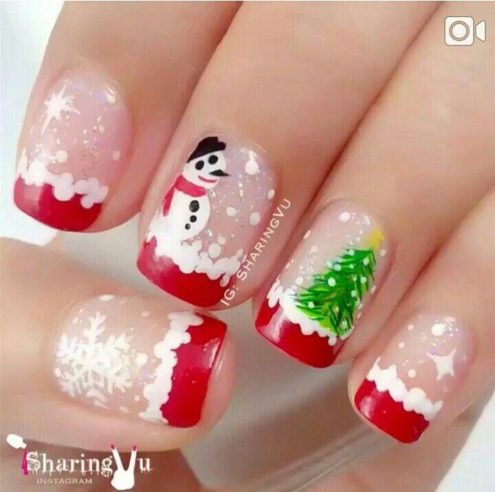 Nail art, natal, árvore de natal, neve, francesinha, boneco de neve, unhas natal 2014