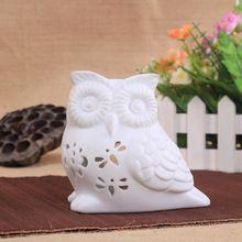 Branco óleo de cerâmica artesanal em forma de coruja de cerâmica queimador de óleo essencial fragrância aroma difusor(China (Mainland))