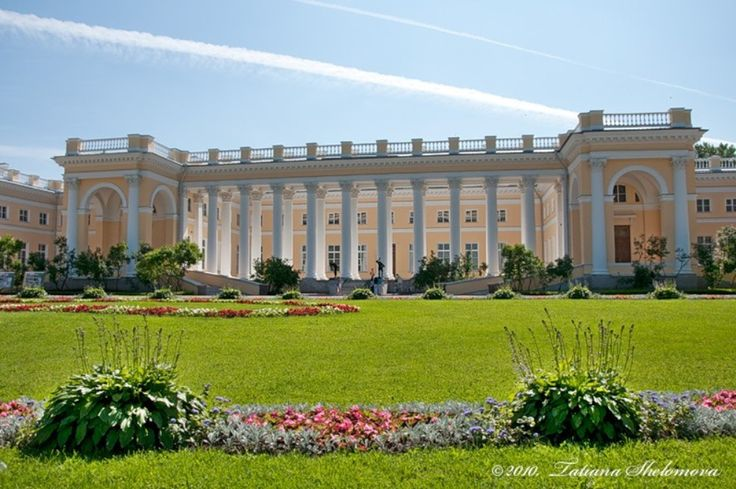 """Alexander Palace ~ Tsarskoye Selo (Russian: Ца́рское Село́; """"Tsar's Village"""") the town containing a former Russian residence of the imperial family + visiting nobility, 15 mi south from Saint Petersburg. Currently, there are two imperial palaces: the baroque Catherine Palace with the adjacent Catherine Park and the neoclassical Alexander Palace with the adjacent Alexander Park."""