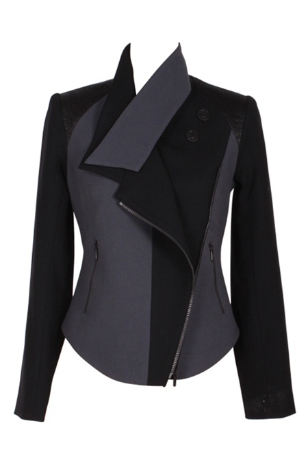 This slick textural jacket combines French laquered jaquard, cotton twill and Italian Wool Lycra and is an investment piece that will pull together any look. This piece features graphic lines, black feature zips and a collar extension that can be worn buttoned up or open and effortless. Style this clever textured piece with leather pants or jeans or over a slick dress with a boot or pump. #NicheFashion