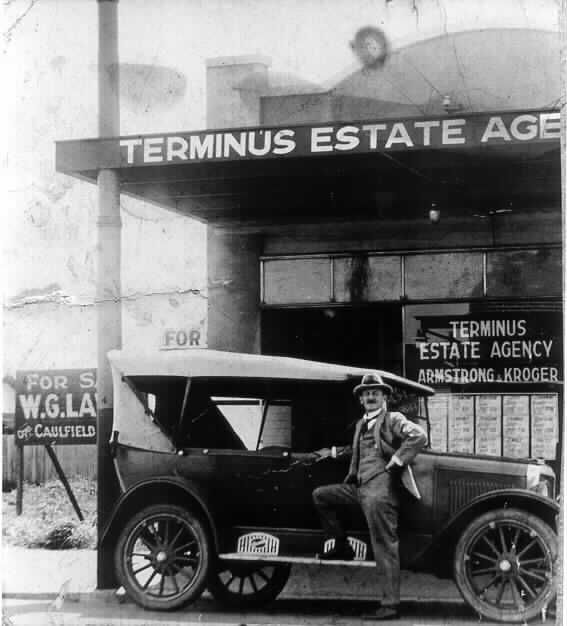 MP 6548. David Armstrong outside the Terminus Estate Agency, 1927.