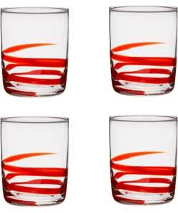 4 Piece Swirl Glass Set - Red Tumbler Glasses.