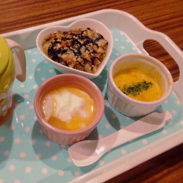 ♢トリとヒジキの餡掛け丼 ♢カボチャのホワイトソース煮 ♢甘夏ヨーグルト ♢麦茶 - 5件のもぐもぐ - 離乳食 by kaiton0312