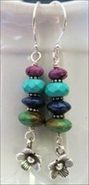 handmade earrings, turquoise totem  Pole