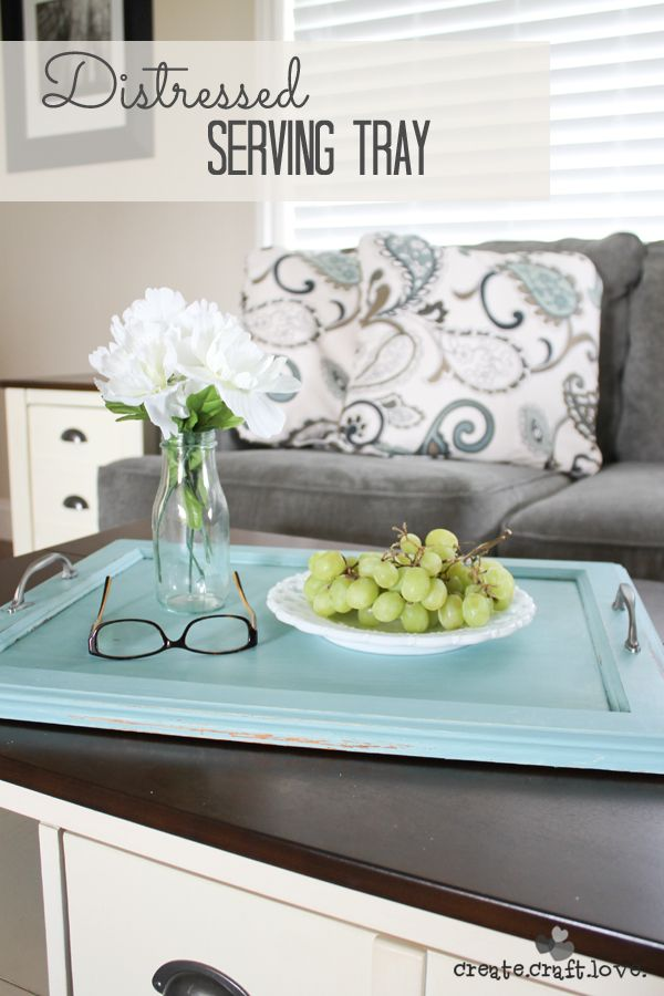 Create your own Distressed Serving Tray from an old cabinet door!  #anniesloanunfolded #DIY #repurpose
