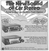 Clarion Car Stereos 1974 Ad Picture