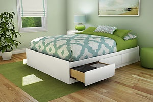 White Full Bed With Storage | Full Size Modern Platform Bed with 3 Storage Drawers in White Finish ...