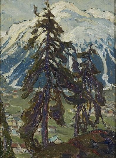 Pine trees and mountain by Anna Boberg. Nationalmuseum Sweden, CC BY-SA