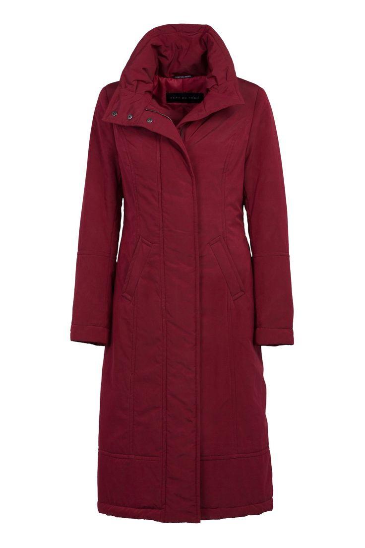 Red - Lange winterjas met capuchon in de kraag.