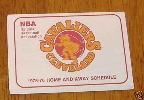 cleveland cavaliers pocket schedule 1975- 76  NBA #schedules