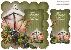 Olive Christmas Lantern Festive Wishes 8in Scallop Topper on Craftsuprint - View Now!