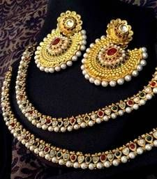 Buy Indian Combo 26 : Maroon green pearl payal anklet & ethnic kundan earring a74 cb26 anklet online