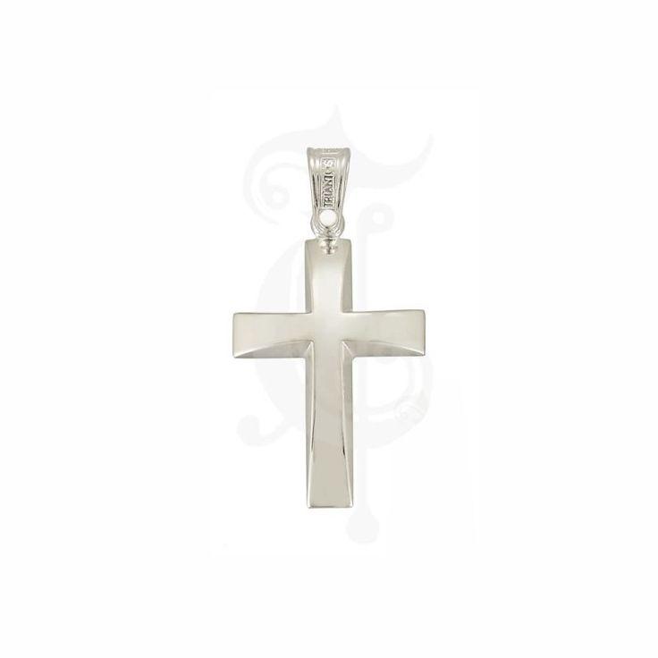 Βαπτιστικός σταυρός για αγόρι ΤΡΙΑΝΤΟΣ από λευκόχρυσο Κ14 σε γυαλιστερή επιφάνεια με κλίση προς το κέντρο   Βαπτιστικοί σταυροί ΤΣΑΛΔΑΡΗΣ στο Χαλάνδρι #βαπτιστικός #σταυρός #Τριάντος #αγόρια