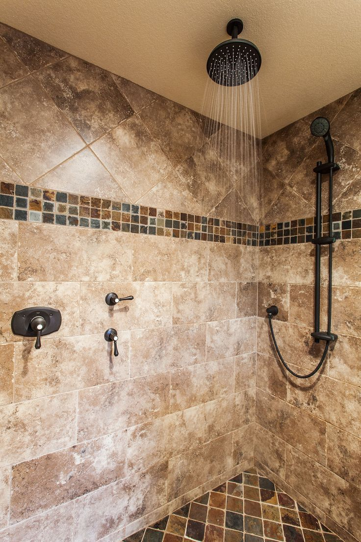 Bathroom mosaic border tiles - From Emser Tile Features Our Trav Fontane In Walnut With A Slate Mosaic Border And Shower Basin