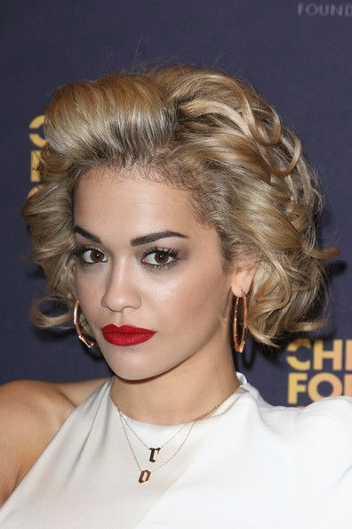What I like about this:  texture or clumpiness and off the face. Rita Ora Hair