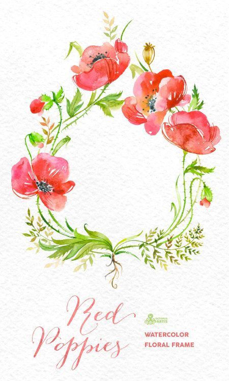 Red Poppies Frame. Handpainted watercolor poppy by OctopusArtis