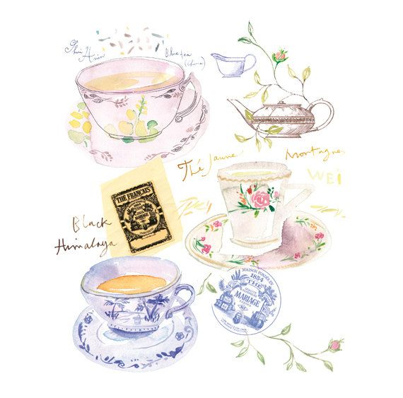 Tea Time in Paris Watercolor painting Tea poster by lucileskitchen