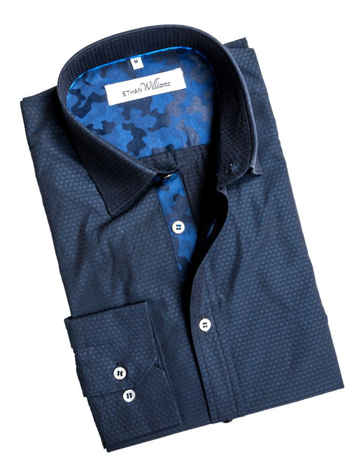 Ethan Williams Navy Jacquard shirt With Blue Camo Accent - Emilie