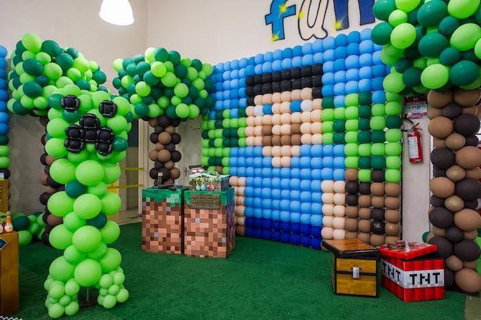 Balloon Backdrop from a Minecraft Birthday Party via Kara's Party Ideas KarasPartyIdeas.com (28)