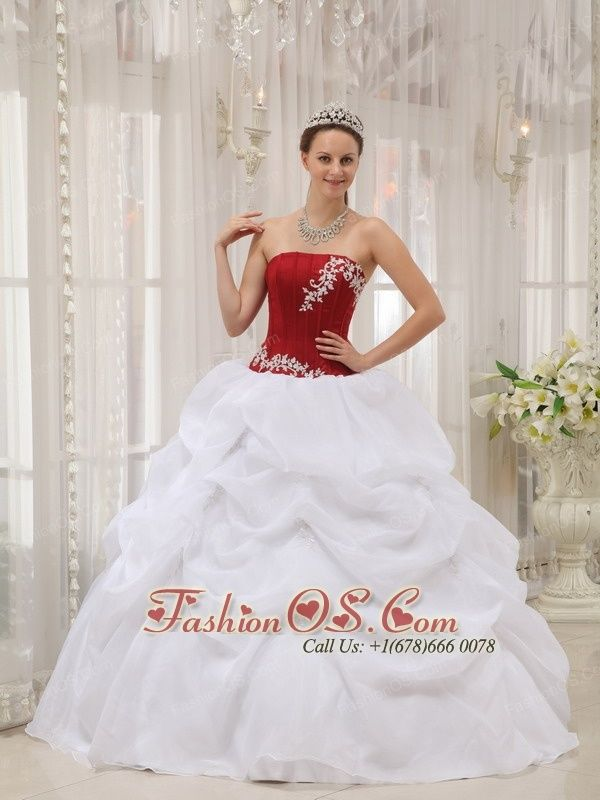 Informal White and Wine Red Quinceanera Dress Strapless Taffeta and Organza Appliques Ball Gown- http://www.fashionos.com  http://www.facebook.com/fashionos.us  All eyes will be on you if you choose this quinceanera dress! The top bodice has straight neckline and asymmetrical embroidery appliques and boning details to showcade your feminine quality. The puffy skirt has bubble pick-ups. The back features a corset-style closure that ensures a perfect fit.