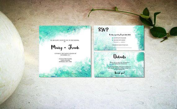 Terqoise watercolor wedding invitation template Digital