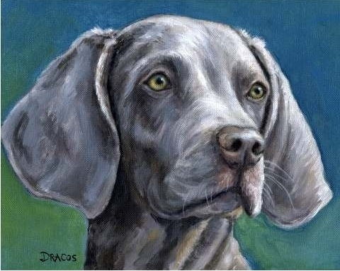 Weimaraner Dog Art 8x10 Print of Original Painting by DottieDracos