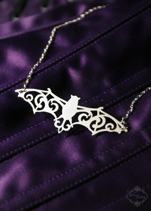Filigree Victorian Bat necklace in silver stainless steel - vampire bat wings silhouette Halloween jewelry on Etsy, $29.00