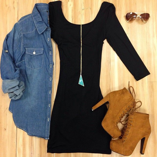 TIGHT BLACK DRESS WITH DENIM JACKET OVER