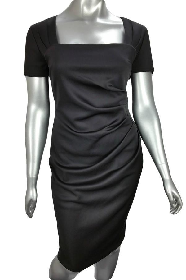 Black gathered pencil dress with square neck