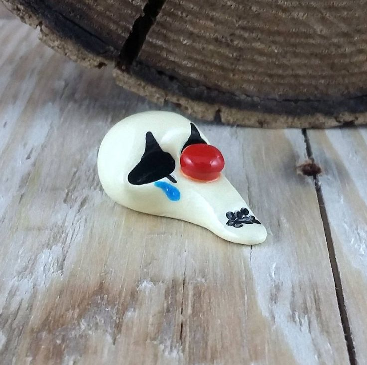 Crying clown skull sculpted from polymer clay and hand painted! by MoondustMinis on Etsy