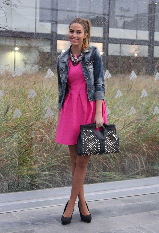 @roressclothes clothing ideas #women fashion Fuchsia Short Dress with a Denim Jacket