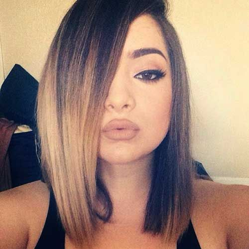 ombre long bob lob hairstyle for medium straight hair