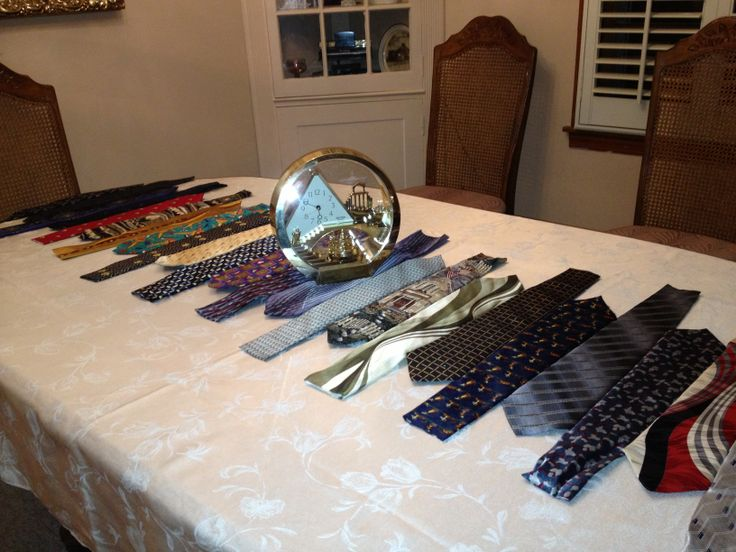 The tie table runner that I made my meme for Father's Day. Made with old neck ties from the men in the family.