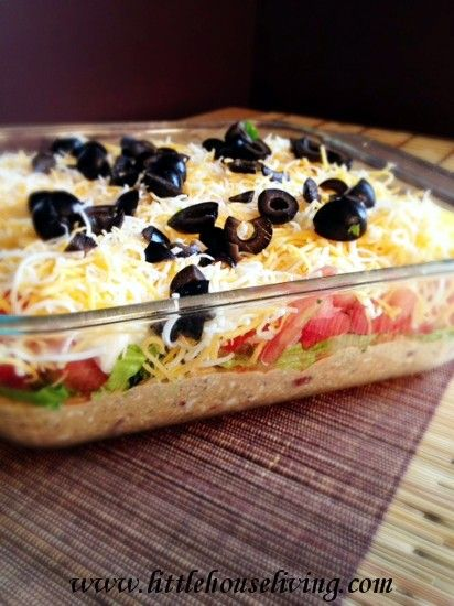 7 Layer Taco Dip : Little House Living...I don't think I have gone to any kind of party with food that I haven't taken this. Love it!